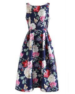 Retro Blossom無袖印花連衣裙