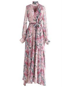 Floral Endearment Chiffon Maxi Dress in Pink