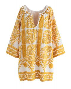 觸摸黃色的Skyline波西米亞風刺繡連衣裙