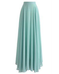 不對稱下擺雪紡半身裙--薄荷綠