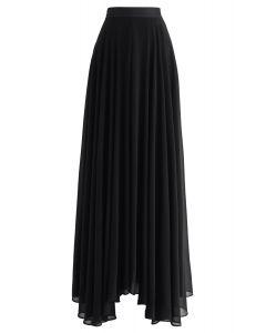 不對稱下擺雪紡半身裙--黑色