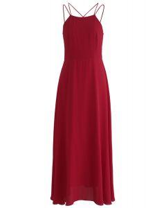 華麗運動交叉背紅色長連衣裙