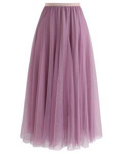 薄紗疊層半身裙- 淡紫色