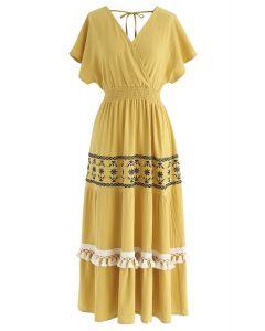 我唯一想要的芥末波西米亞風裹身式連衣裙