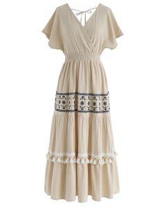 我唯一希望在亞麻布的Boho裹身式連衣裙