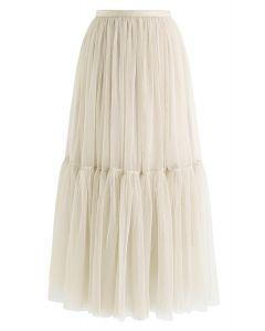 不能讓奶油色網眼薄紗裙