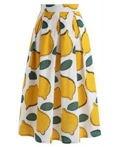 檸檬圖案A字半身裙