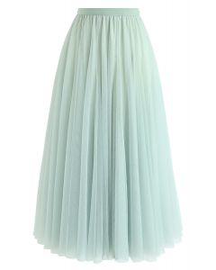 薄紗曡層中長裙 - 薄荷綠