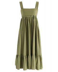 軍綠色的快樂方面露背中長連衣裙