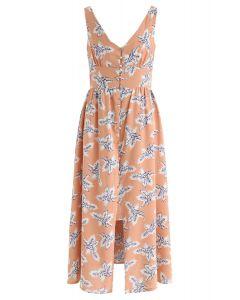棕色寬鬆鏤空背桃色連衣裙