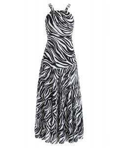 斑馬條紋開背長連衣裙白色