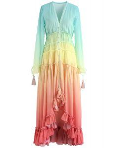 漸變色V領連衣裙