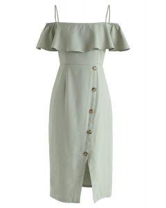 就在豌豆綠色的情緒冷肩連衣裙