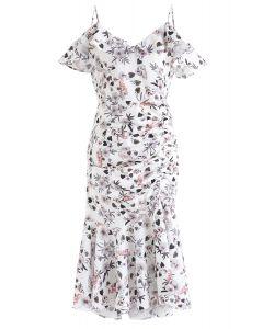 雞尾酒夜花卉印花緊身連衣裙白色