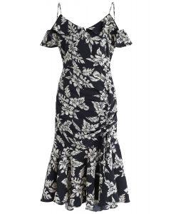 雞尾酒夜花卉印花緊身連衣裙黑色