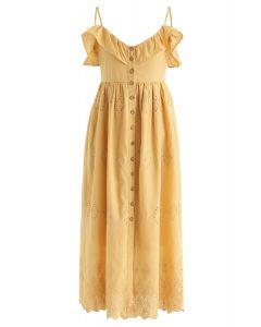 可愛的一天刺繡芥末Cami連衣裙