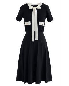 黑色蝴蝶結針織連衣裙