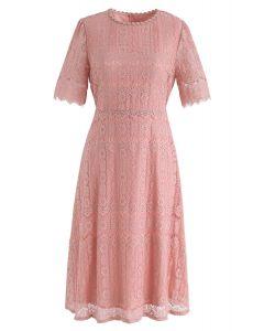 珊瑚夢幻製造蕾絲中長連衣裙