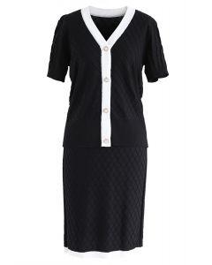 今晚的一切針織上衣和黑色裙子