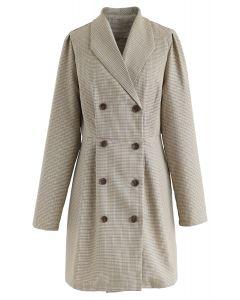 魅力雙排扣格子長款西裝外套