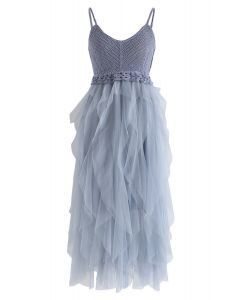 藍色針織荷葉邊網眼連衣裙