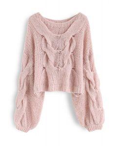 手工編織泡泡袖毛衣--粉色