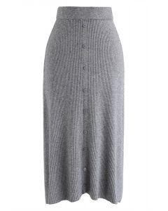 按鈕裝飾羅紋針織中長裙灰色--灰色