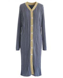 Button Front Longline Knit Cardigan in Dusty Blue