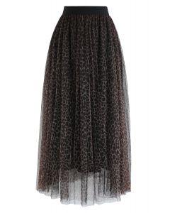 豹紋雙層網紗半身裙