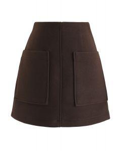 棕色口袋裝飾迷你裙