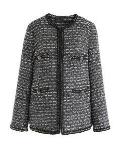 Pockets Trimmed Tweed Jacket in Black