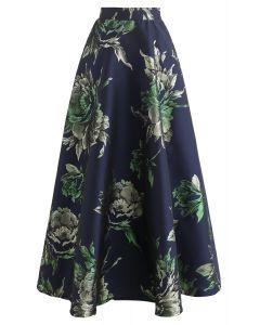 Glittery Peony Jacquard Maxi Skirt in Navy