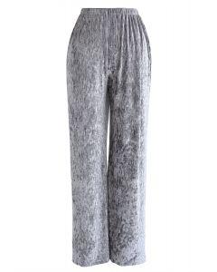 Velvet Wide-Leg Pants in Silver