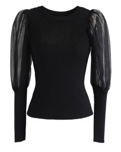 Mesh Bubble-Sleeve Ribbed Knit Top in Black